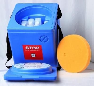 termo azul celeste vacunas nilkamal 2,7 litros tapa abierta