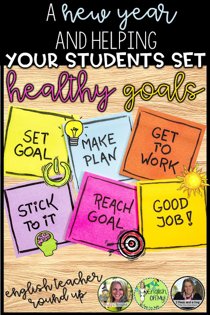 Help your middle and high school students create and set personal goals for the new year and work on increasing their growth mindset through various classroom activities. English language arts teachers | grades 4, 5, 6, 7, 8, 9, 10, 11, 12 | English teachers | Secondary ELA | vision boards