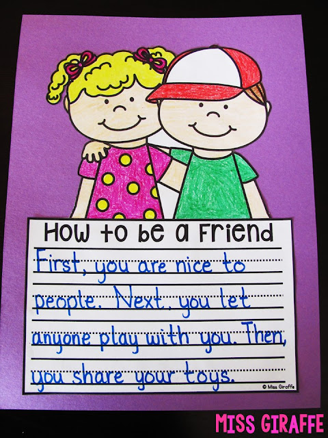 How to be a friend writing craft is the perfect activity for the first week of school or any time in the year where your students need a reminder. These crafts are great for first grade or kindergarten behavior management lessons!