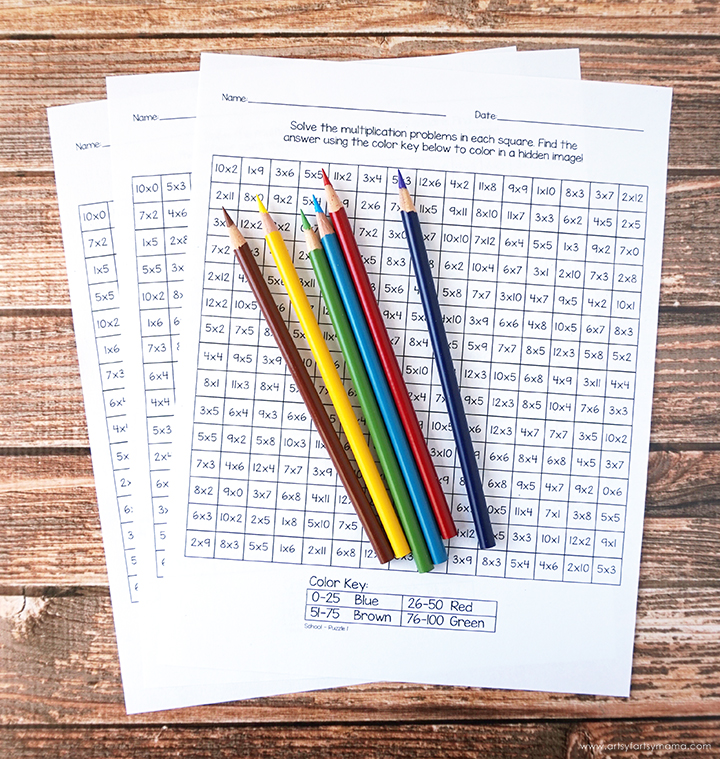Free Printable Back to School Mystery Multiplication Worksheets