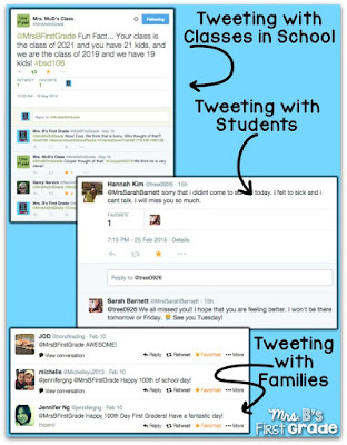 Mrs. B from Mrs. B's First Grade shares her top five steps on implementing a class Twitter account in this post. She lays how to create a class Twitter account, how you can use it, and more!