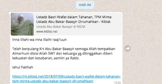 Beredar Broadcast Hoax Ustaz Abu Bakar Baasyir Meninggal di Tahanan