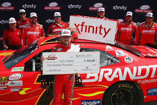 Last year, Justin Allgaier won two of the $100,000 #NASCAR Dash4Cash Bonuses.