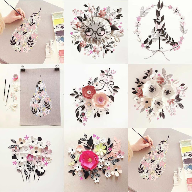 paper sculpture flowers by Hanna Nyman