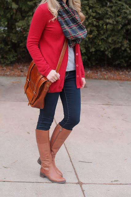 grey tee, red boyfriend cardigan, plaid scarf, cognac boots
