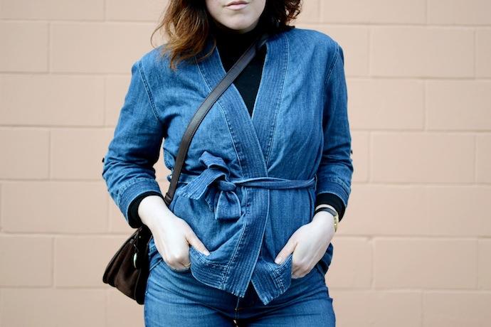 Gap denim kimono jacket blogger