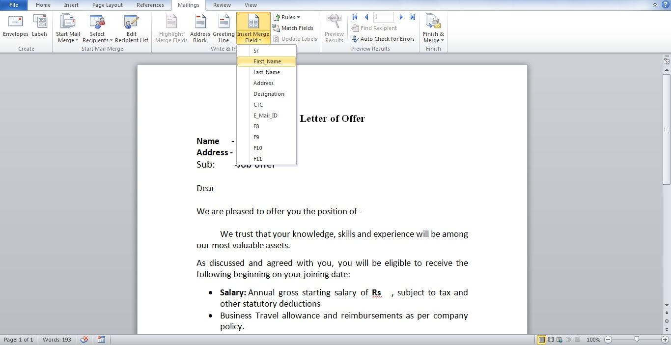 Bulk Latter, Email, Mail Merge Function in Word using Excel Database exceldesk.in