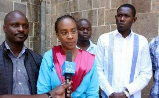 Dr. Jacqueline Kitulu providing direction over the doctors strike at a media press briefing. PHOTO | Courtesy