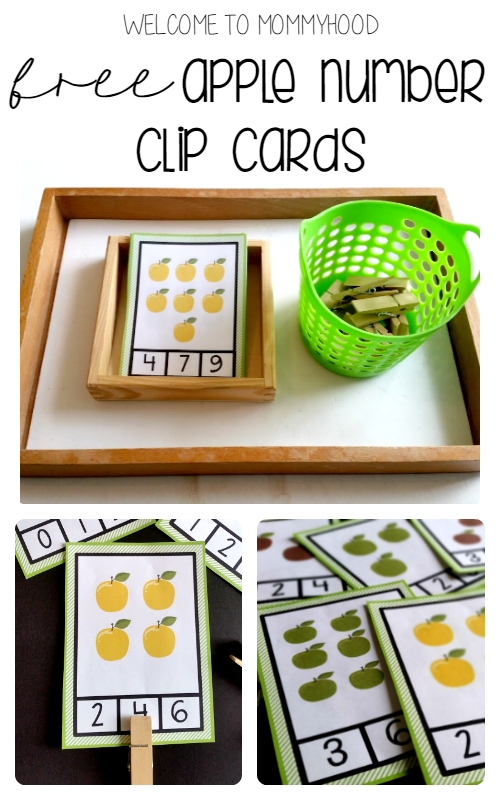 Free apple number clip cards for preschoolers by Welcome to Mommyhood #preschoolactivities, #homeschool, #freeprintables, #fallactivitiesforkids