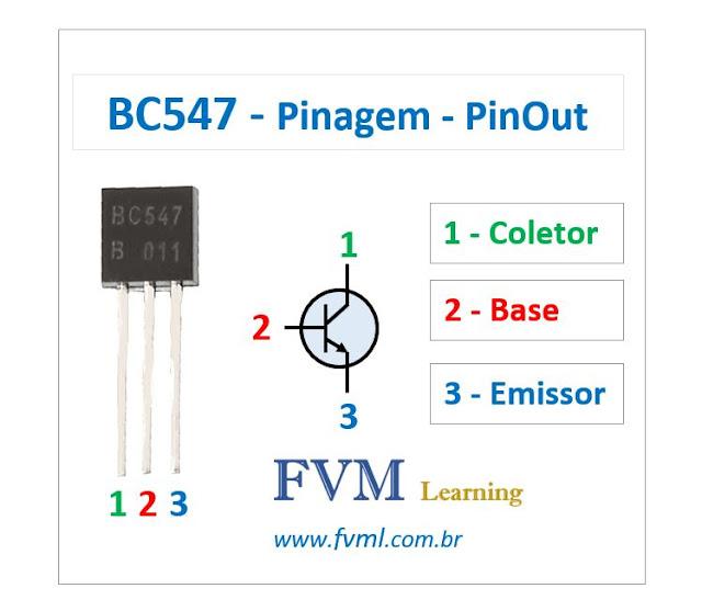 Pinagem - Pinout - Transistor - NPN - BC547 - Características