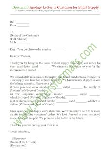 apology letter to customer for short shipment