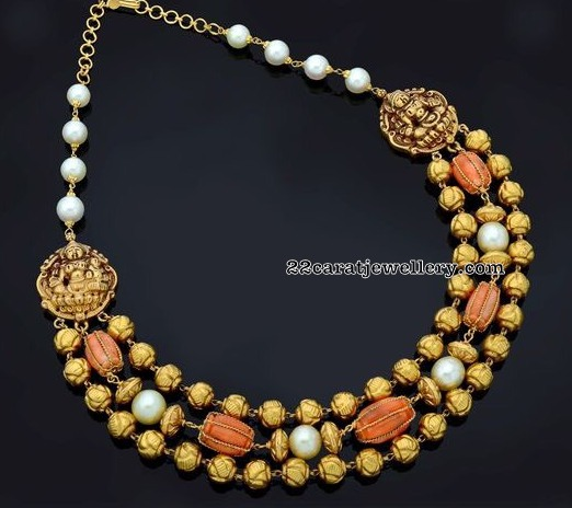 Coral Beads Antique Balls Necklace