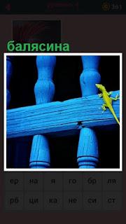 на синих балясинах ползает ящерица зеленого цвета