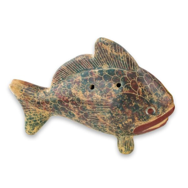 Artisan Crafted Ceramic Ocarina Fish Shaped Vessel Flute Wall Decor 2 or 2