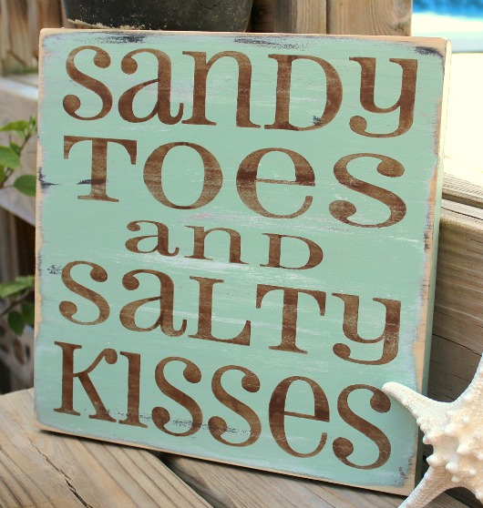 Sandy toes and salty kisses beach sign