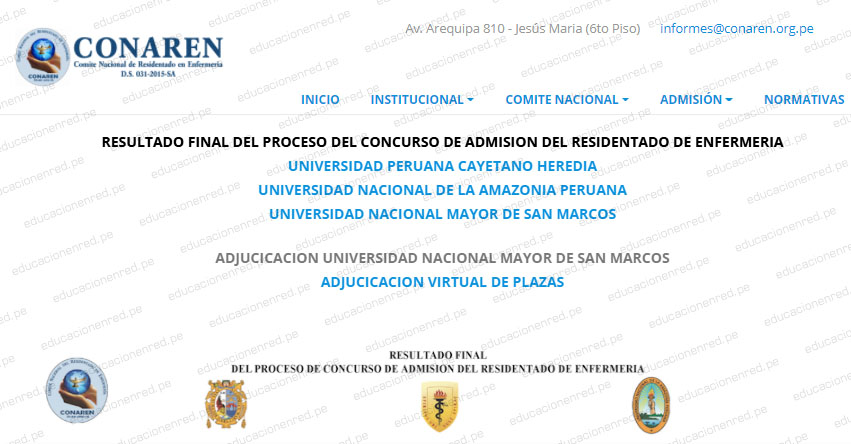 Resultado Final CONAREN 2020 (Domingo 20 Diciembre) Adjucicacion Virtual de Plazas al Residentado de Enfermería - www.conaren.org.pe