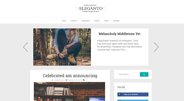 Eleganto Responsive Minimalist Clean Personal Fashions Tutorial Clean Blogger Template Theme