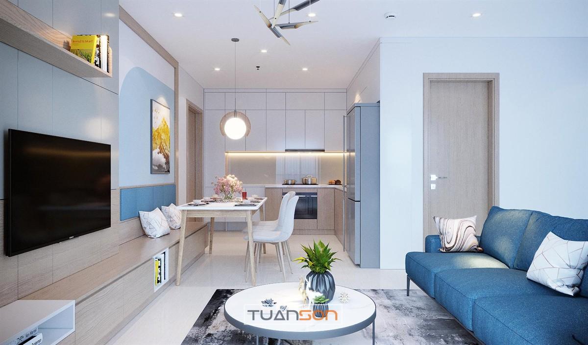 Thiết kế thi công nội thất phòng khách căn hộ Vinhomes Smart City Tây Mỗ