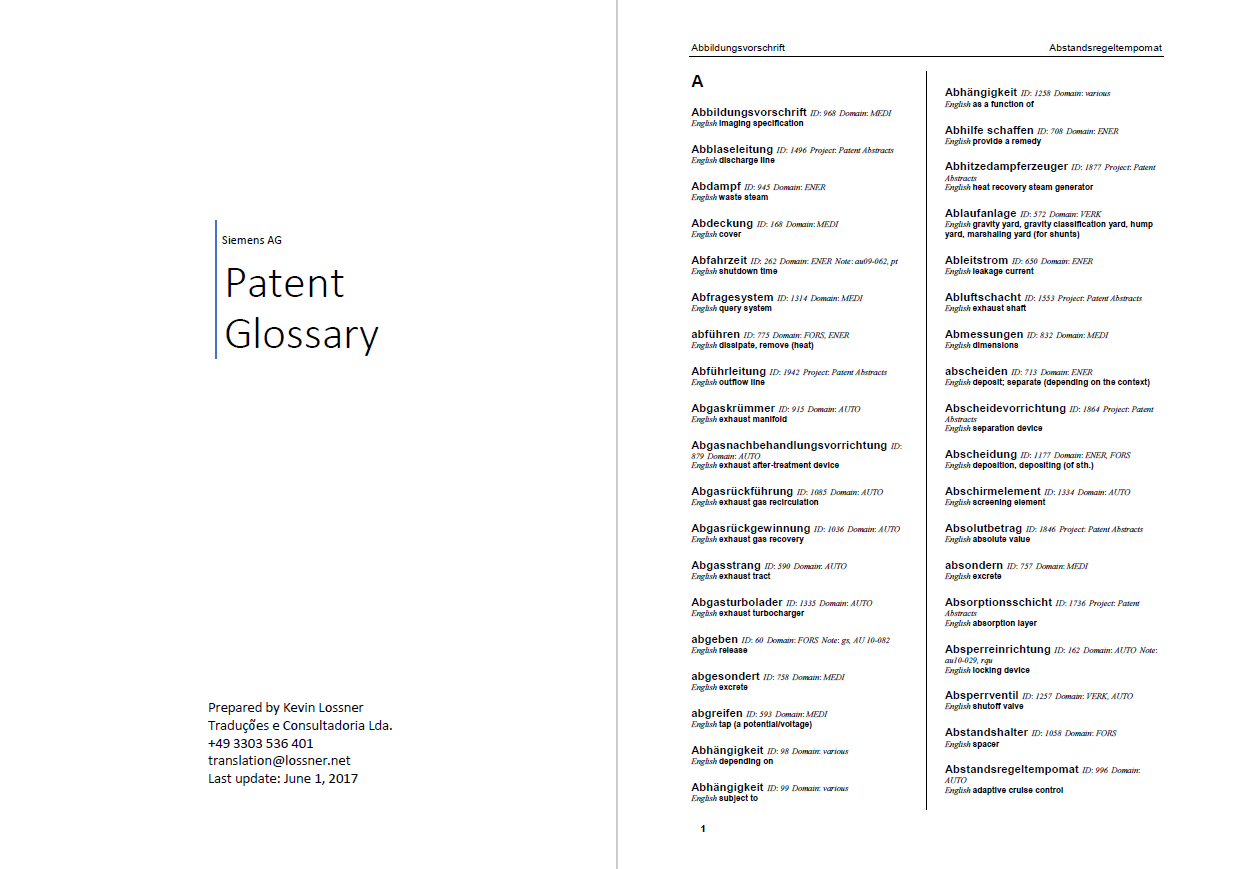 A patent glossary exported from memoq and then made into a pdf dictionary via sdl trados multiterm