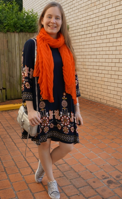 navy crinkle scarf flowy swing floral print dress silver accessories | away from blue