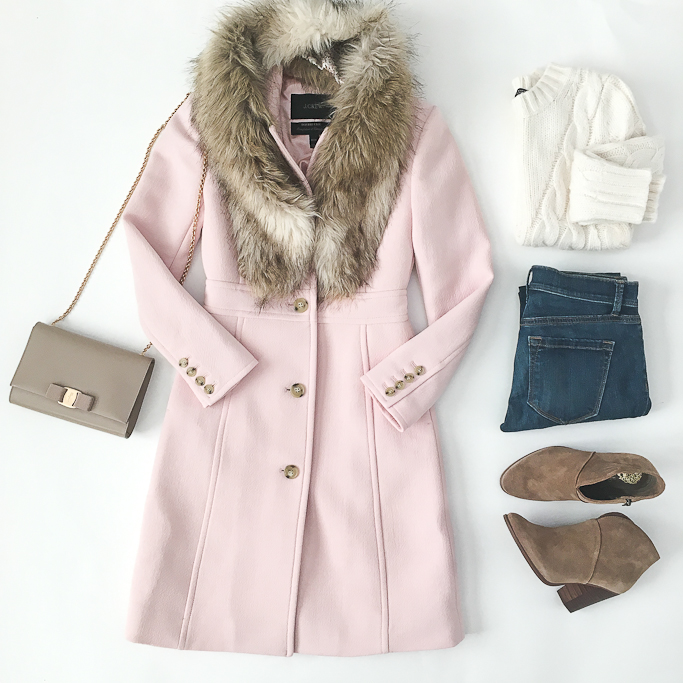 Ann Taylor cable knit sweater, Faur fur stole, Ferragamo miss vara bow mini bag, J.Crew 000 petite sizing, J.Crew lady day coat in subtle pink, LOFT petite jeans, Vince Camuto franell ankle booties