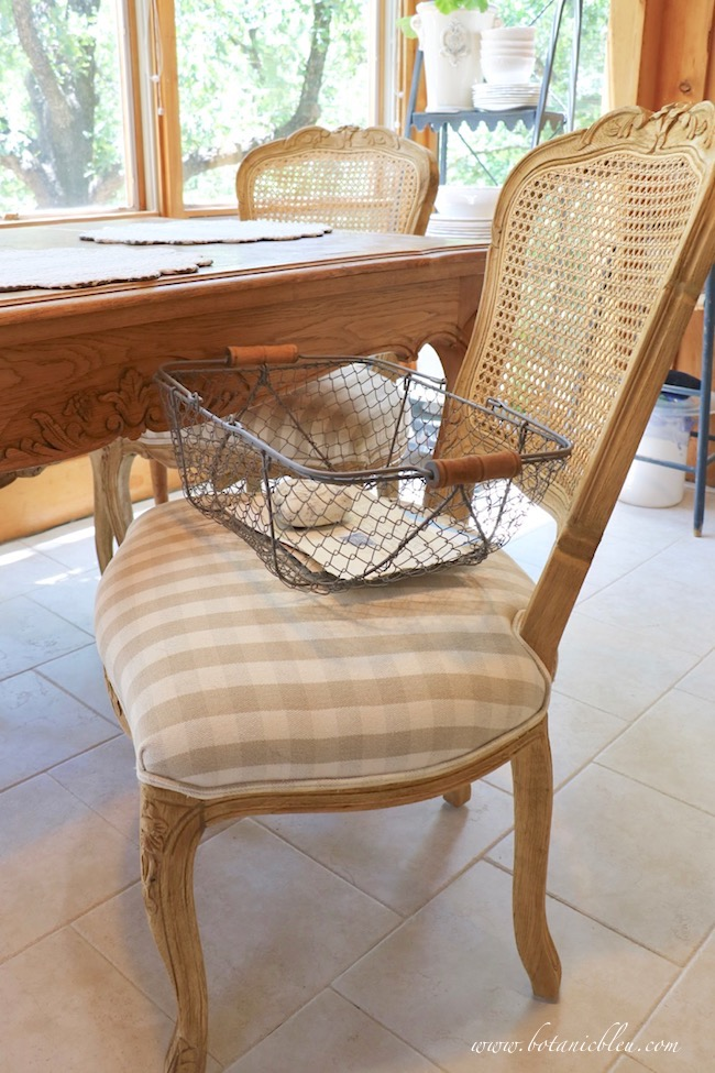 French Country dining chair cane back with hand carved wood frames
