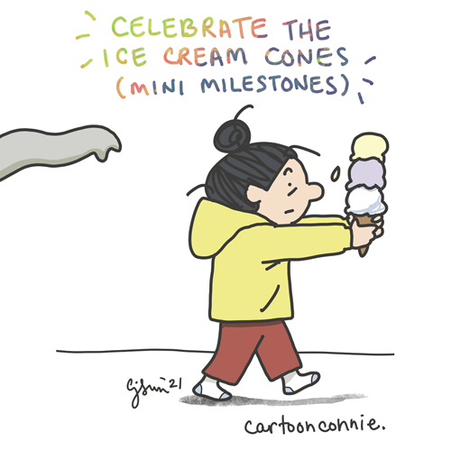 Illustration about celebrating mini milestones and small wins in creative work, sketchbook drawing, cartoon by Connie Sun, cartoonconnie