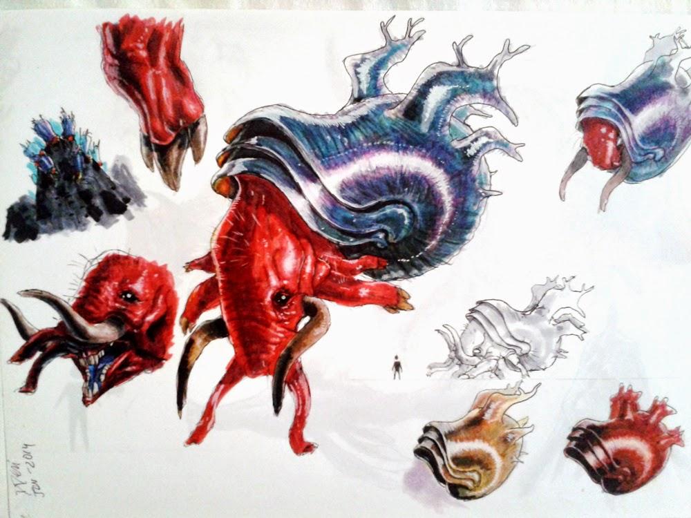 creature design, sketchbook, alien creature, sea creature, criaturas do mar, elefante, elephant, snail, sea snail, caracol, douglas deri, deri, deriart