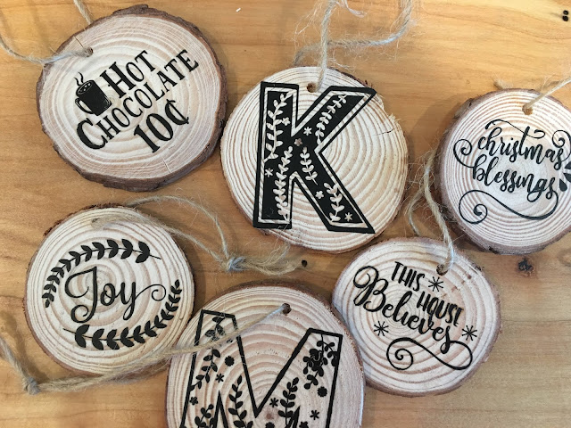 wood slices, htv, heat transfer vinyl, Heat Transfer Vinyl Silhouette, wood ornaments