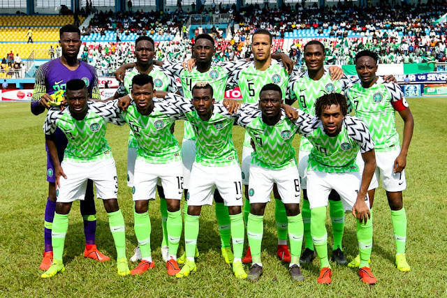 The Super Eagles of Nigeria pictured before a AFCON match