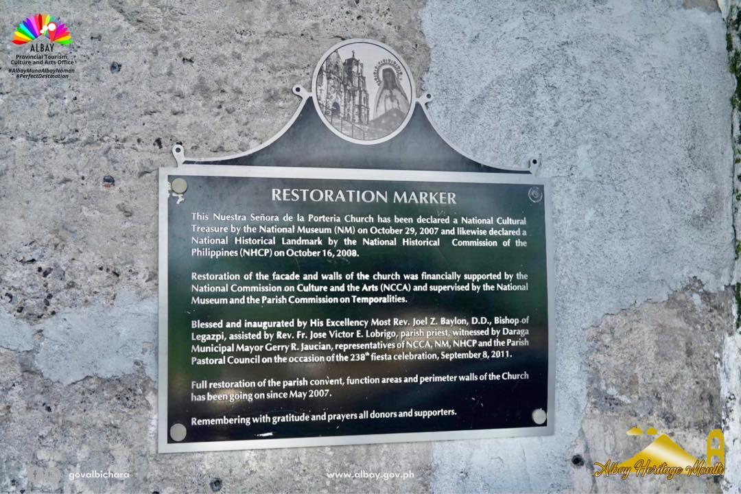 Daraga Church Restoration Marker