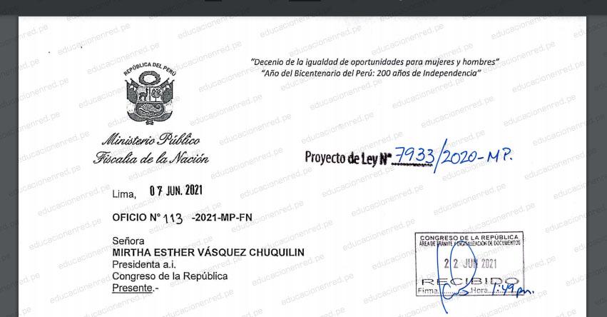 PROYECTO DE LEY N° 07933/2020-MP - Ley que crea la Escuela Nacional del Ministerio Público (.PDF) www.congreso.gob.pe
