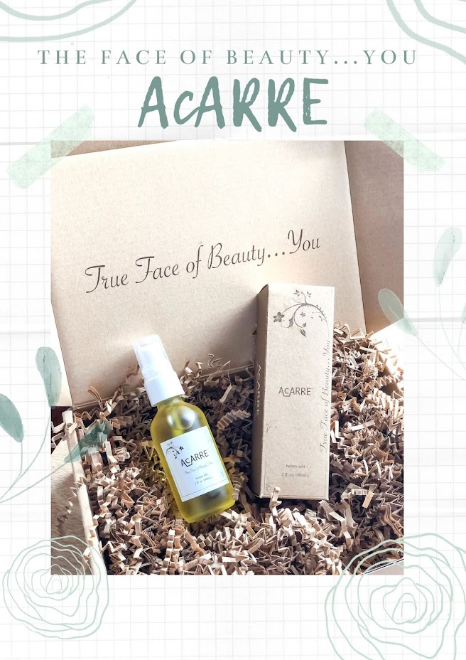 True face of beauty Acarre dry oil for skin , face care, skincare product by clean brand Acarre, The face of beauty by Acarre, Promo cruelty-free skincare, dry oil for face, minimal skincare routine,