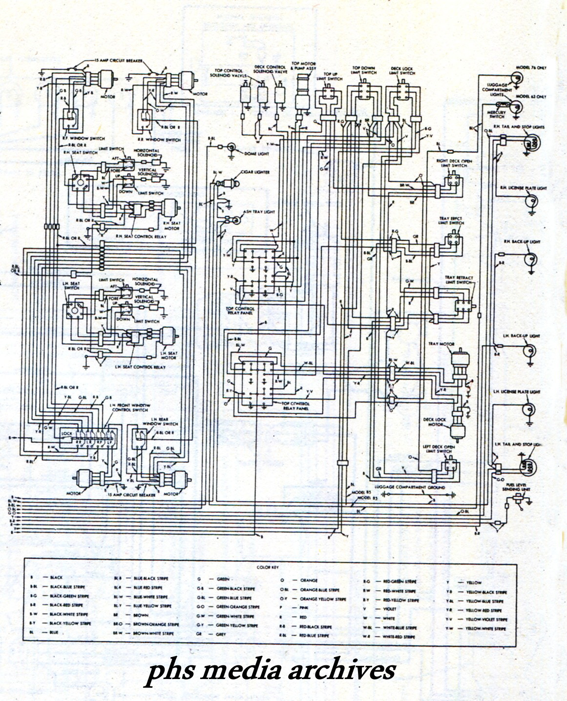 The rear half of 1961-63 T Bird wiring diagram. clic on image for  enlargement.