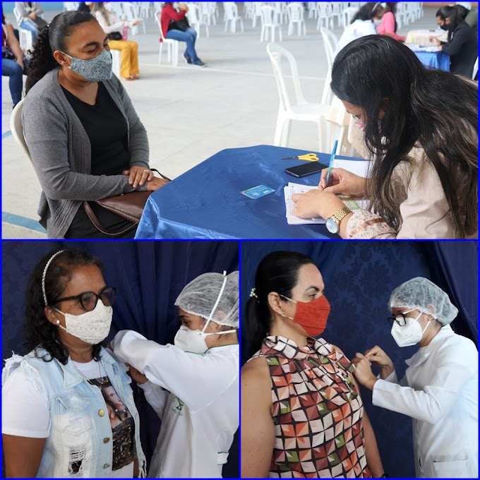 Professores de Araruna recebem 1ª dose da vacina contra a Covid-19