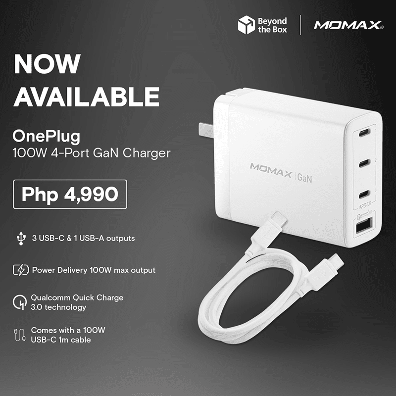 Momax OnePlug 100W 4-Port GaN Charger for all your devices arrives in the Philippines