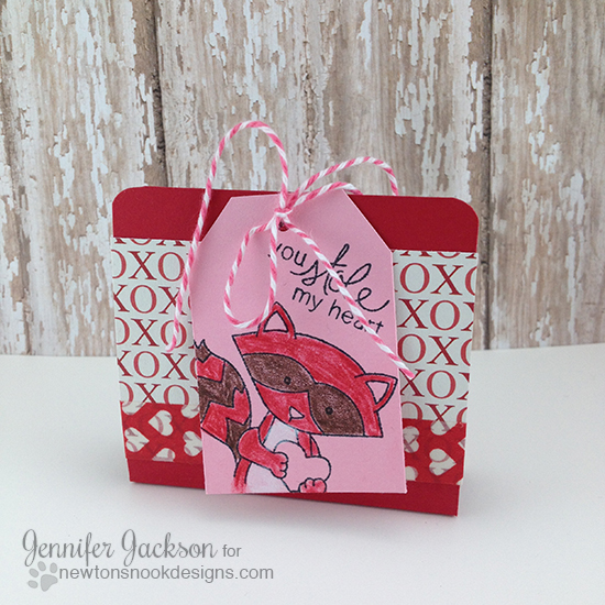 Ghirardelli treat holder with raccoon by Jennifer Jackson | Sweetheart Tails Stamp set by Newton's Nook Designs!