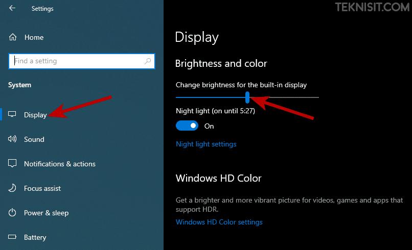Cara mengatur cahaya laptop Windows 10