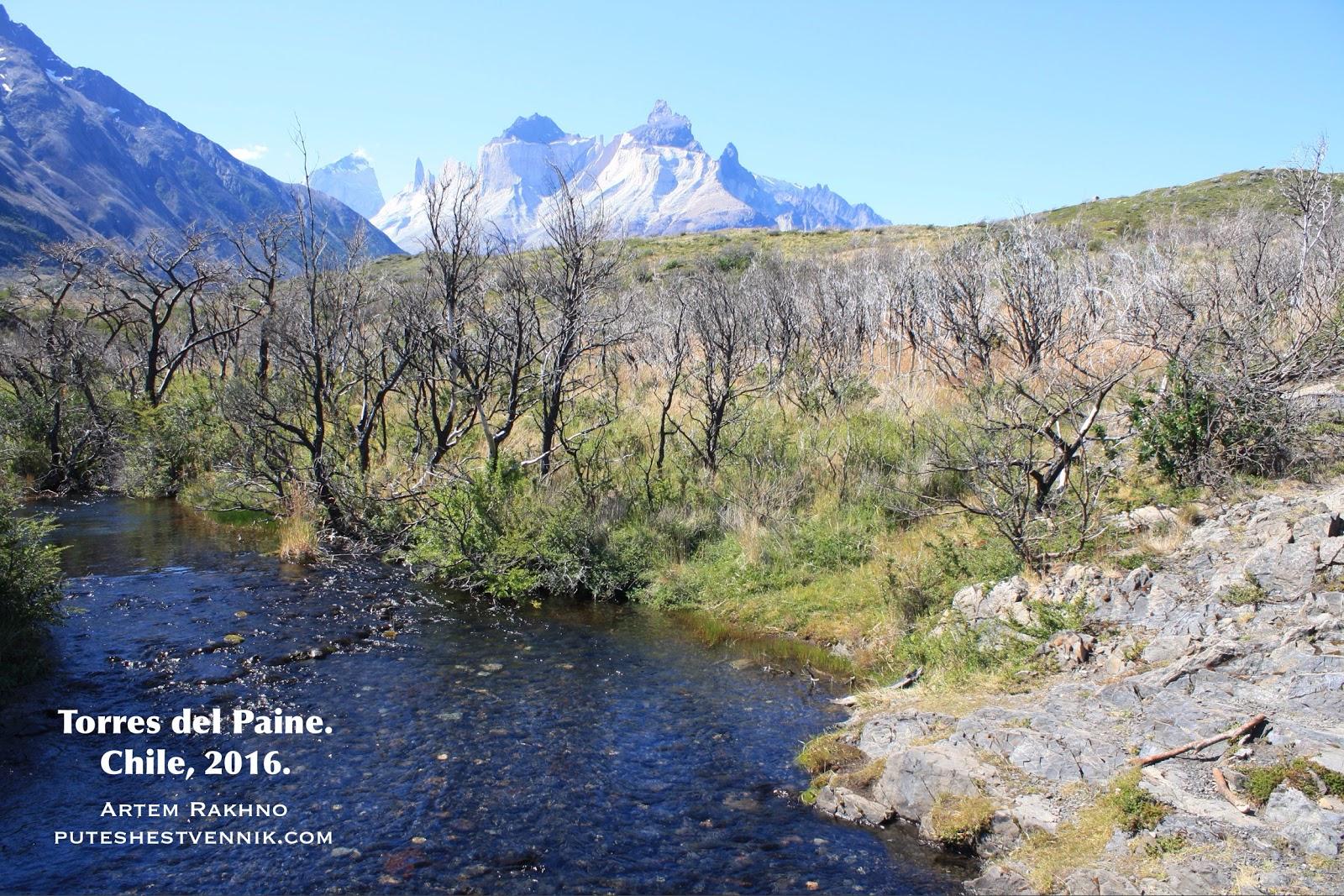 Ручей и горы в Торрес-дель-Пайне