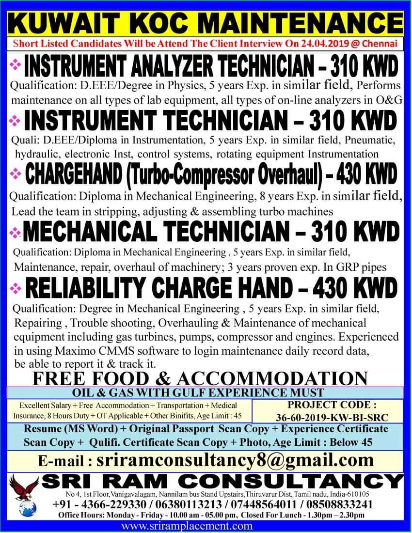 Urgent requirement for leading company in Kuwait long term