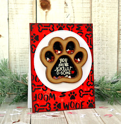 You Are Paw-Some by Larissa Heskett for Newton's Nook Designs used Say Woof Stamp Set, Woof Stencil, Pawprint Shaker Die Set, Therm O Web Metallix Gel in Black Ice, Gina K Designs Glitz Glitter Gel in Black #shakercard #newtonsnook #thermoweb