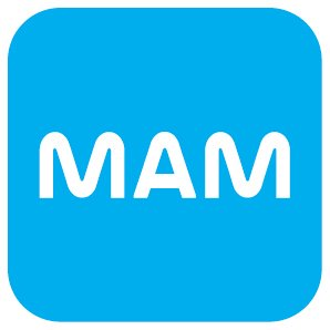 MAM baby blue and white logo