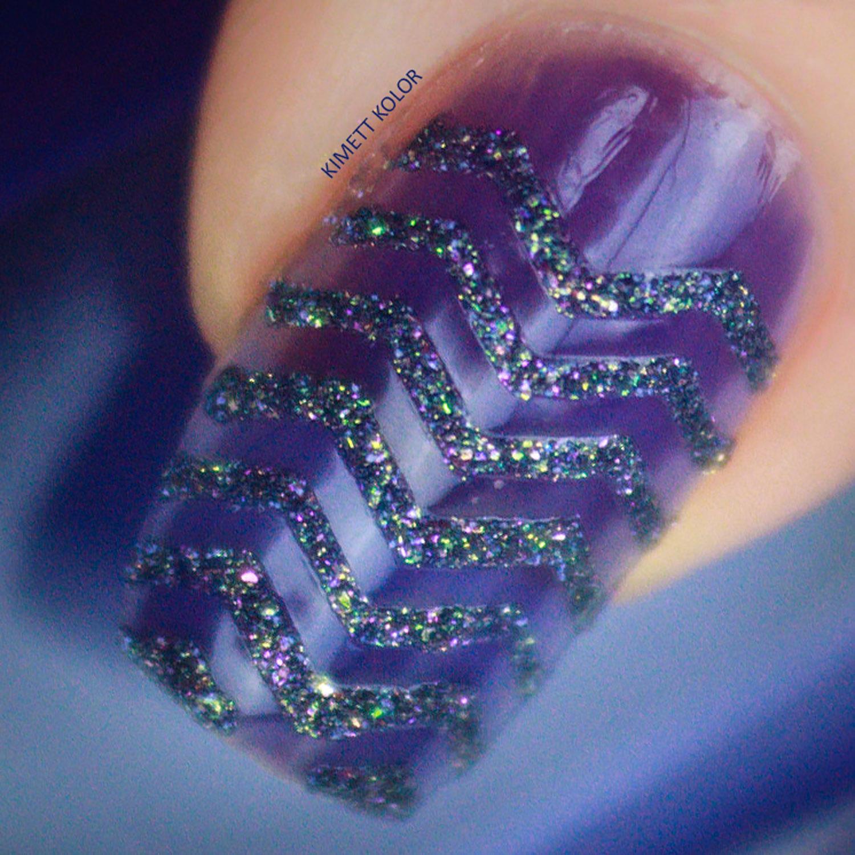Indigo ZigZag Texture Nail Polish Design by Kimett Kolor
