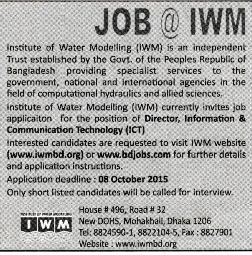 All Newspaper Jobs: Institute of water Modeling (IWM
