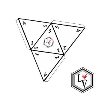 Dado de cuatro caras o D4  tetraedro regular papercraft estilo Ludoteca Virtual