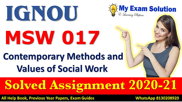 MSW 017 Solved Assignment 2020-21, IGNOU Solved Assignment 2020-21, MSW 017