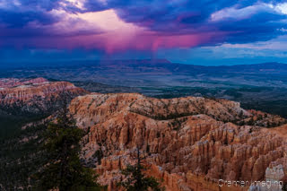Cramer Imaging's fine art landscape photograph of dramatic stormy skies at Bryce Point of Bryce Canyon Utah at sunset