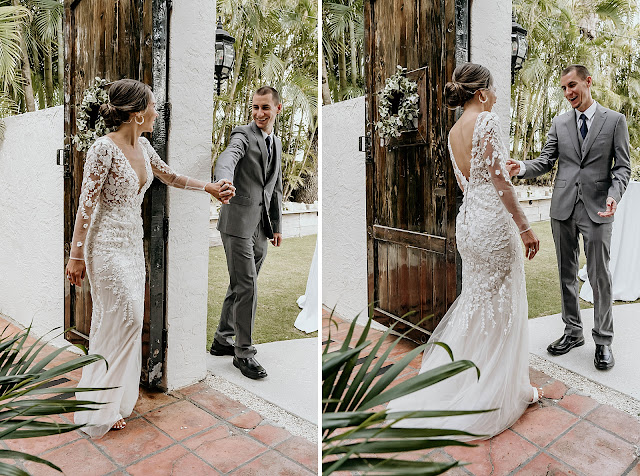 Bride and Groom sharing first look reaction The Manor on St Lucie Crescent Wedding captured by Stuart Wedding Photographer Heather Houghton Photography