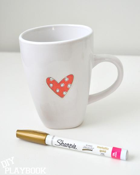 Coffee mug and gold oil based sharpie