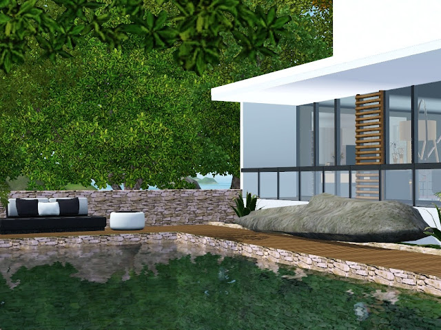 villa sims 3 moderne blanc